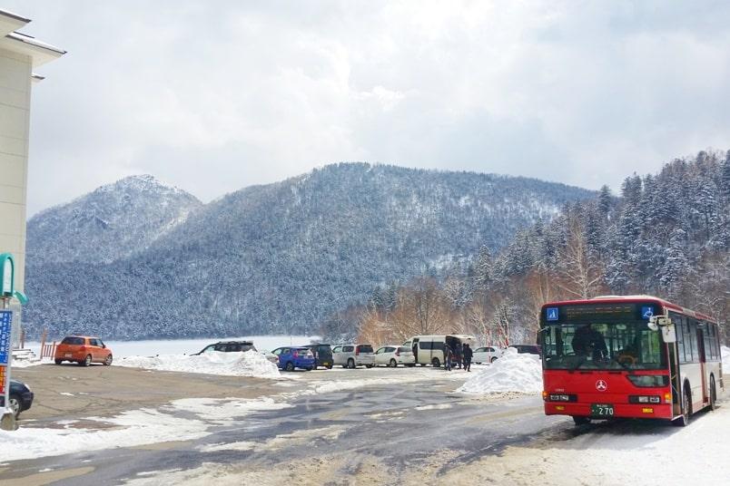 Sapporo to Lake Shikaribetsu igloo village: Lake Shikaribetsu bus stop. Backpacking Hokkaido Japan winter