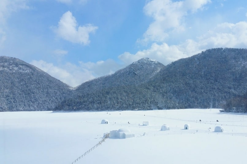 Sapporo to Lake Shikaribetsu igloo village entry - free cost. Backpacking Hokkaido Japan winter