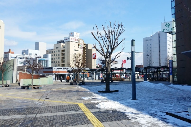 Sapporo to Lake Shikaribetsu igloo village: Obihiro train station to Obihiro bus station. Backpacking Hokkaido Japan winter
