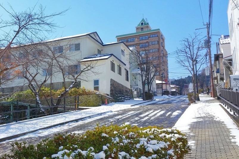 Small town hostel Hakodate on daisan-zaka slope, Motomachi street. Backpacking Hokkaido Japan