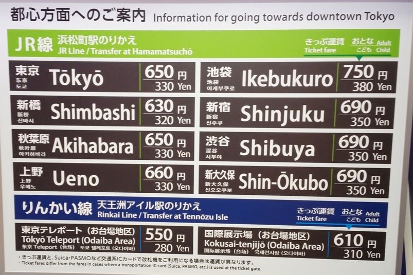 Suica card at haneda airport - how much cost for train from haneda airport to tokyo station, to shinjuku, to shibuya - Backpacking Tokyo Japan