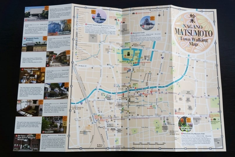 Hakuba to matsumoto train. matsumoto city walking map from tourism office at train station. Backpacking Nagano Japan