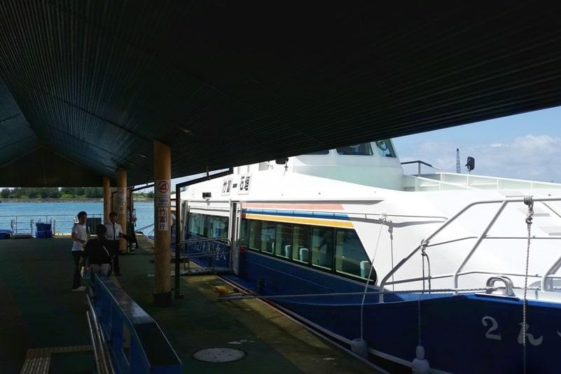 Ishigaki to Taketomi ferry. Getting on the boat. Backpacking Yaeyama islands, Okinawa Japan