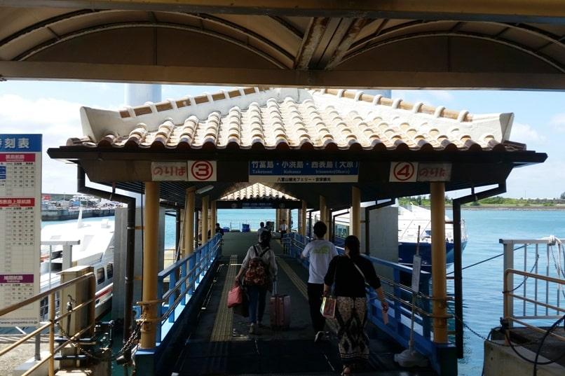 Ishigaki to Taketomi ferry. to platform. Backpacking Yaeyama islands, Okinawa Japan