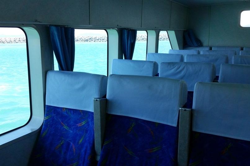 Ishigaki to Taketomi ferry seats interior. Backpacking Yaeyama islands, Okinawa Japan