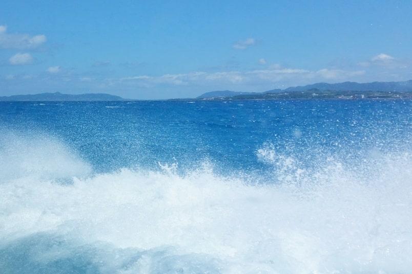 Ishigaki to Taketomi ferry. Speedboat to Taketomi island. Backpacking Yaeyama islands, Okinawa Japan