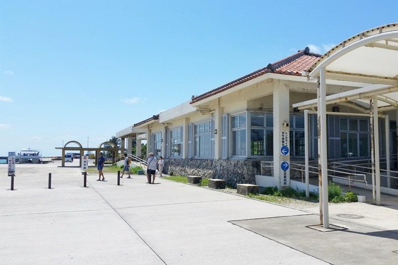 Ishigaki to Taketomi ferry. Taketomi tourist visitors information center. Backpacking Yaeyama islands, Okinawa Japan