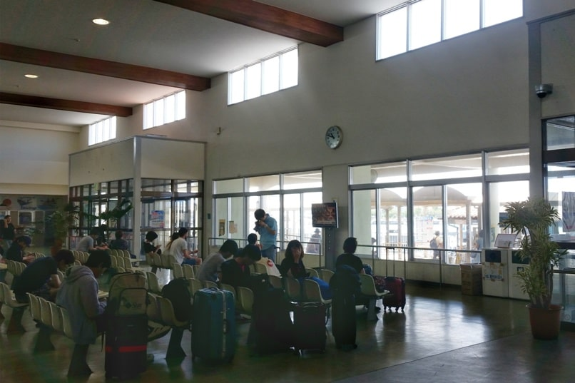 Ishigaki to Taketomi ferry. Ferry port waiting area. Backpacking Yaeyama islands, Okinawa Japan