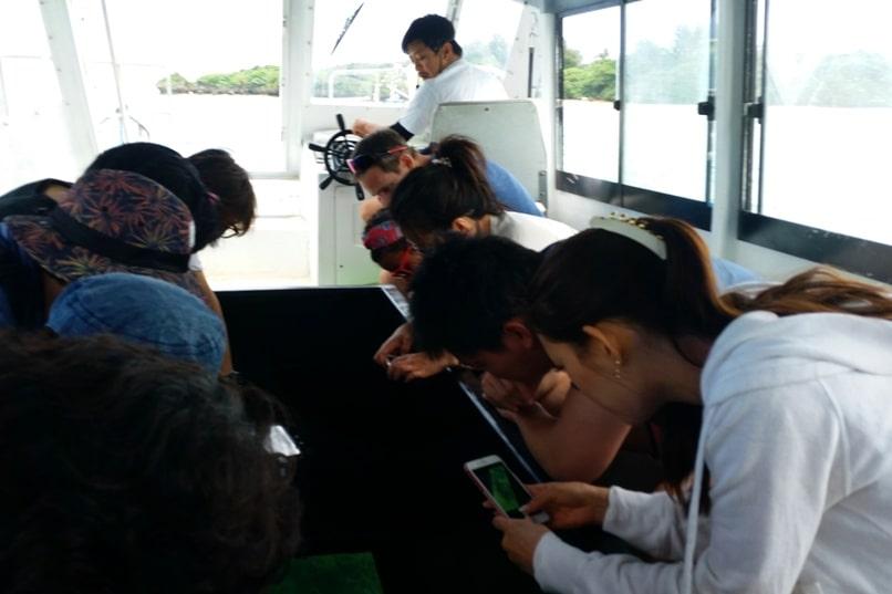Kabira Bay glass bottom boat ride tour. Backpacking Ishigaki Okinawa Japan