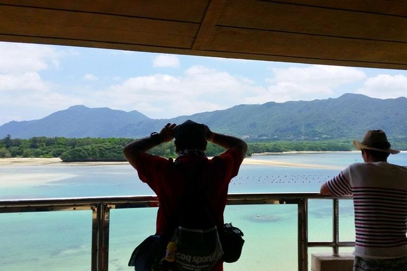 Kabira Bay best views in Ishigaki from observation deck, Yaeyama islands. Backpacking Okinawa Japan