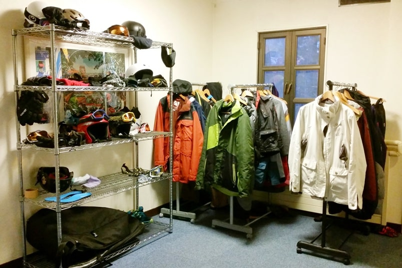K's house hakuba hostel. ski dry room for clothes and boots. Backpacking Japan Alps winter travel