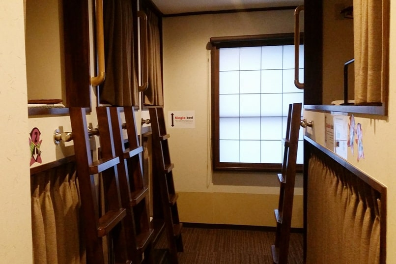K's house Takayama hostel in hida valley. dorm beds like capsule hotel. Backpacking Japan travel