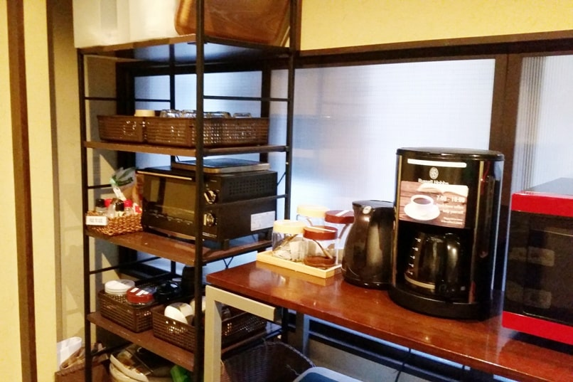 K's house Takayama hostel in hida valley. kitchen with tea and coffee. Backpacking Japan travel