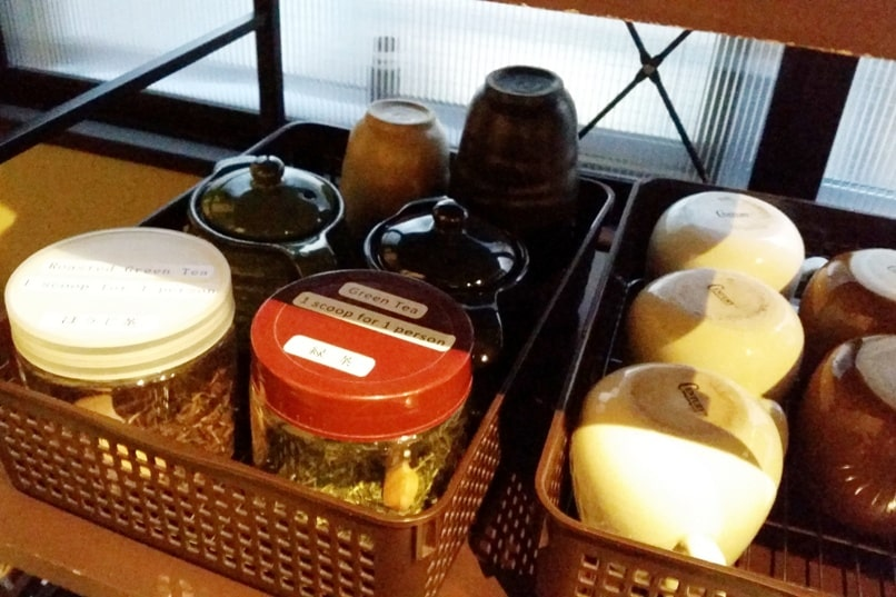 K's house Takayama hostel in hida valley. kitchen with tea. Backpacking Japan travel