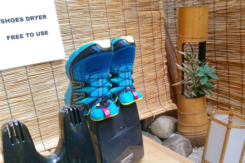 K's house Takayama hostel in hida valley. shoe drying rack. Backpacking Japan travel