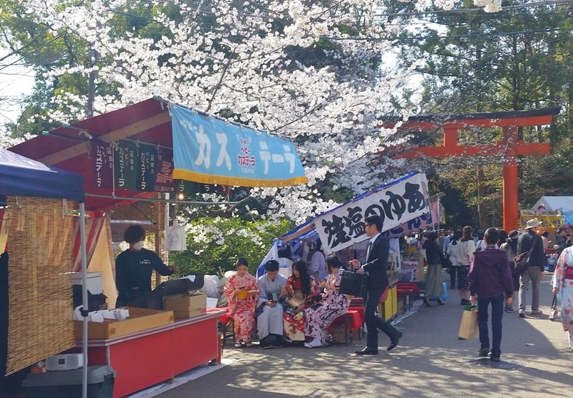 Best cherry blossom spots in Kyoto - maruyama park cherry blossom festival sakura with street food, near gion. Backpacking Kyoto Japan