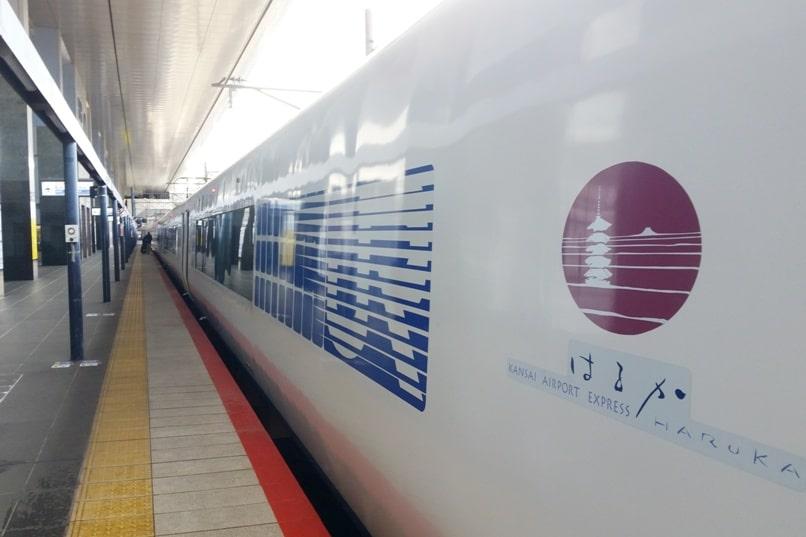 Kyoto to Kansai airport KIX train - jr haruka train at kyoto station. Backpacking Kyoto Japan