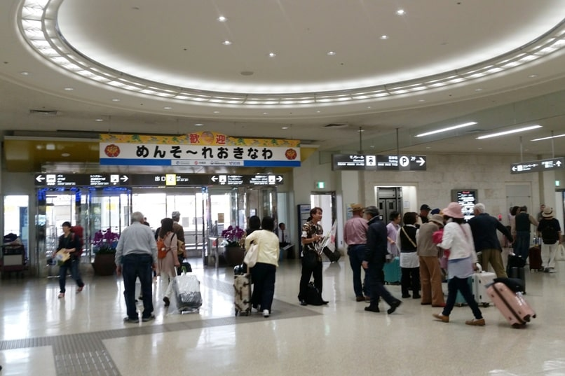 Okinawa monorail - Train from Naha airport. Arrivals. Backpacking Okinawa Japan