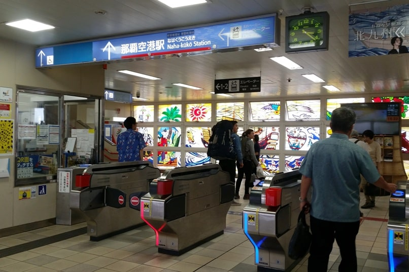 Okinawa monorail at Naha Airport ticket gate. Backpacking Okinawa Japan