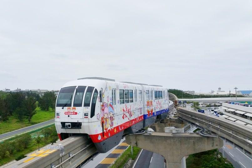 Okinawa monorail at Naha Airport with yui rail public transportation. Backpacking Okinawa Japan