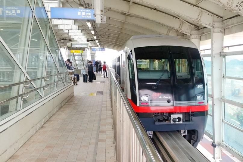 Okinawa monorail at Naha Airport - yui rail train timings. Backpacking Okinawa Japan