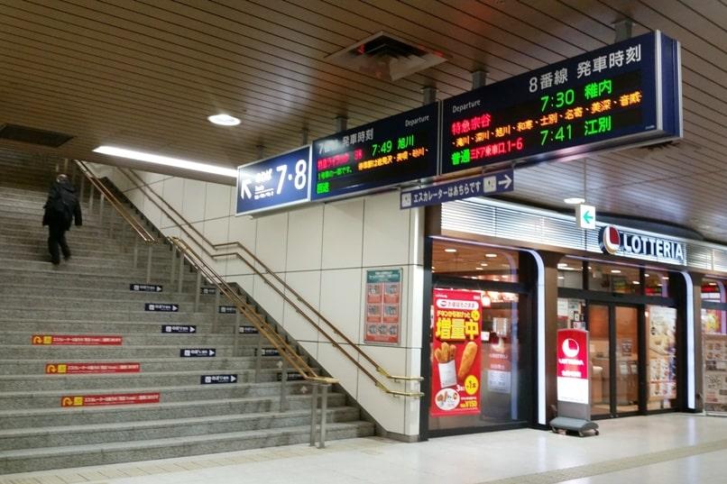 Sapporo to Asahikawa train. Sapporo station platform. Backpacking Hokkaido Japan