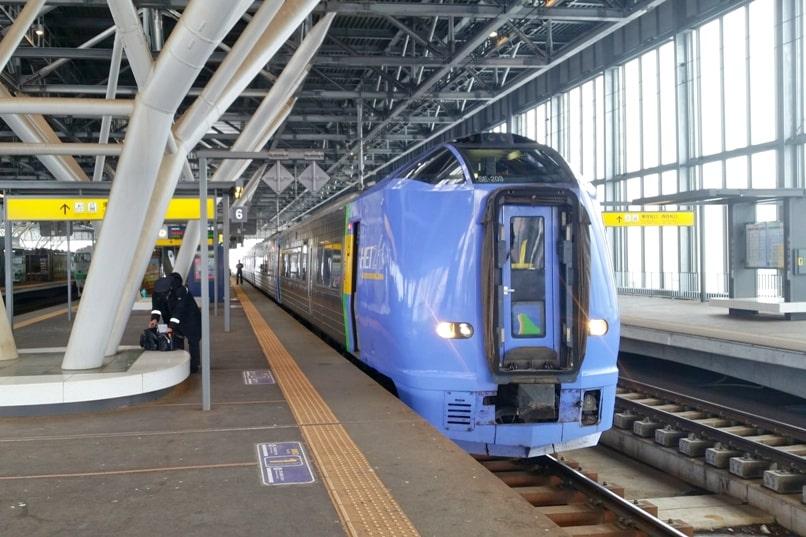 Sapporo to Asahikawa train - limited express JR train - soya or lilac or okhotsk. Asahikawa train station. Backpacking Hokkaido Japan