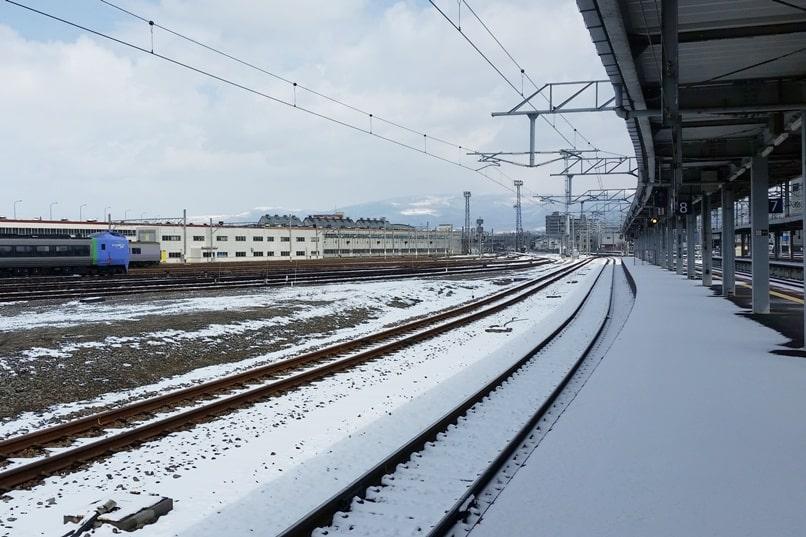 Sapporo to Hakodate train - super hokuto limited express JR train. Hakodate train station. Backpacking Hokkaido Japan
