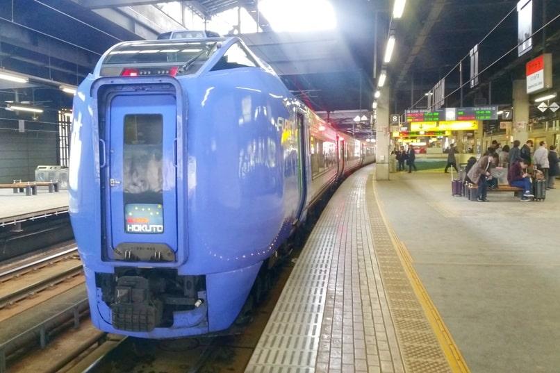 Sapporo to Noboribetsu train - super hokuto limited express JR train. Sapporo train station. Backpacking Hokkaido Japan