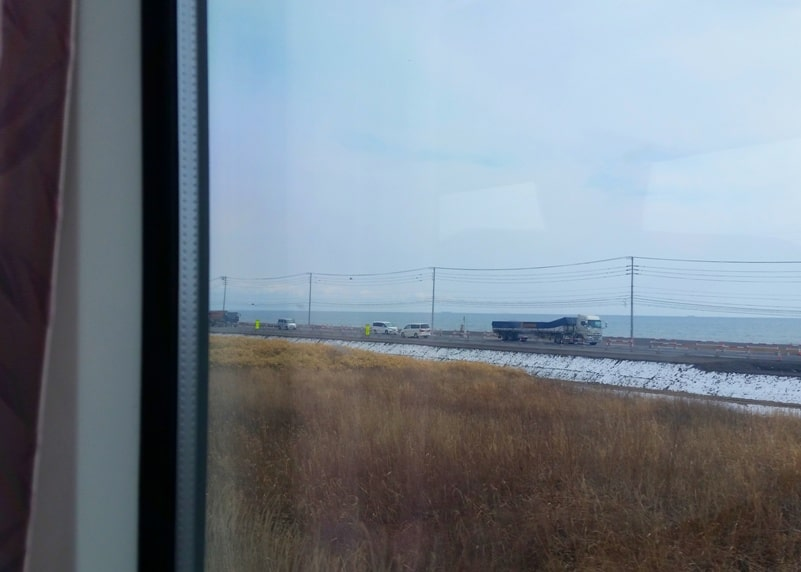 Sapporo to Noboribetsu train ride along coast. Backpacking Hokkaido Japan