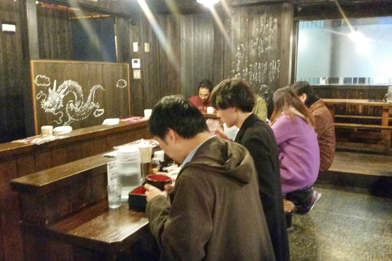 Takayama ramen shop restaurant. Backpacking Japan alps
