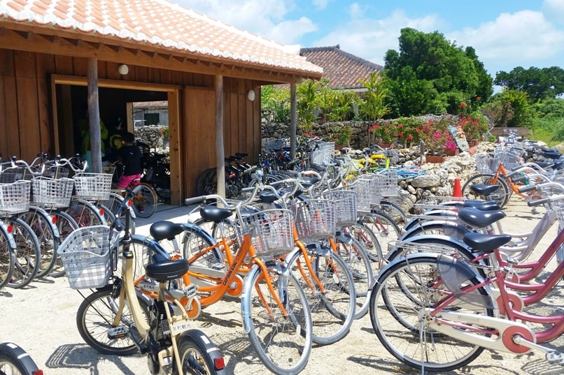 Taketomi Island - bicycle rental shop for cycling. Backpacking Yaeyama islands, Okinawa Japan