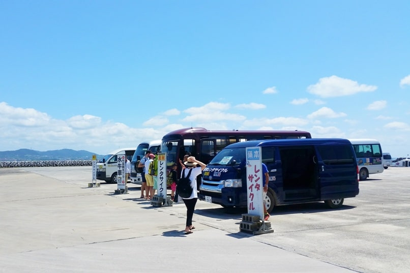 Taketomi Island - bicycle rental shuttle bus at Taketomi ferry port. Backpacking Yaeyama islands, Okinawa Japan