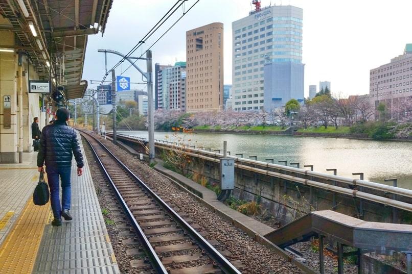 JR train station near Yasukuni shrine with JR pass - shinjuku to ishigaya station. Backpacking Tokyo Japan