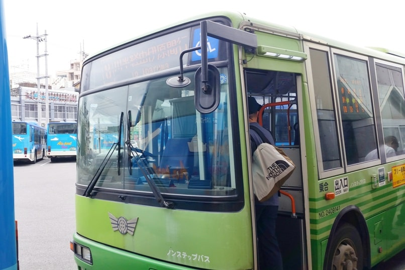 Yonehara Beach bus from Ishigaki bus terminal - how to get there by public transportation. Backpacking Okinawa Japan