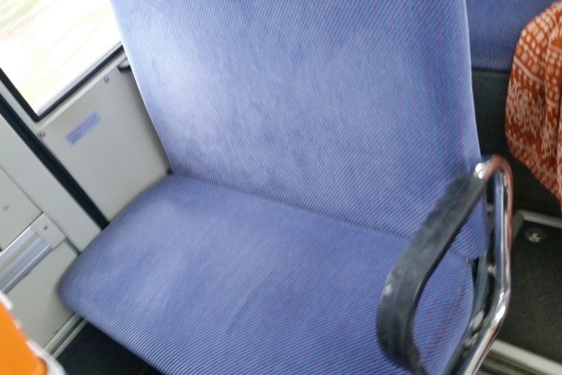 Yonehara Beach bus seats, Ishigaki. Backpacking Okinawa Japan