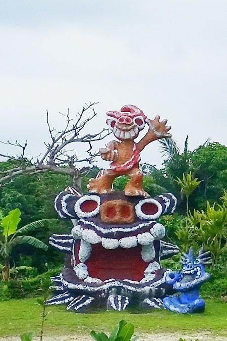 Yonehara Beach to Shisa park near bus stop. okinawa folklore. Backpacking Okinawa Japan