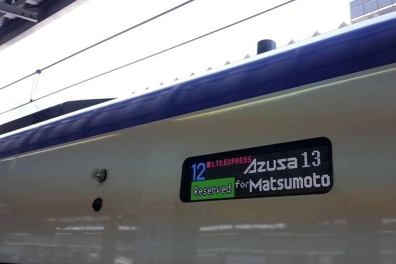 Tokyo to Chureito Pagoda. Shinjuku Tokyo JR Azusa limited express train to Matsumoto. Backpacking Tokyo Japan