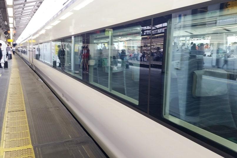 Tokyo to Chureito Pagoda. Shinjuku Tokyo JR Azusa limited express train. Backpacking Tokyo Japan