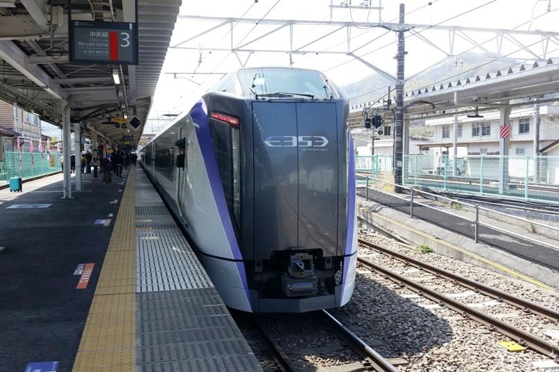 Tokyo to Chureito Pagoda. JR Azusa limited express train at Otsuki train station. Backpacking Tokyo Japan