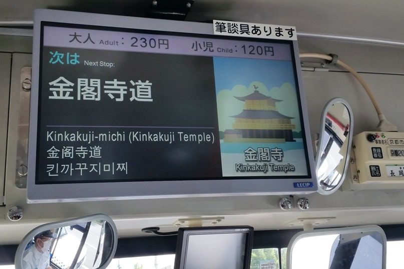 Getting around Kyoto by bus. how to take kyoto bus. next stop. Backpacking Japan travel blog