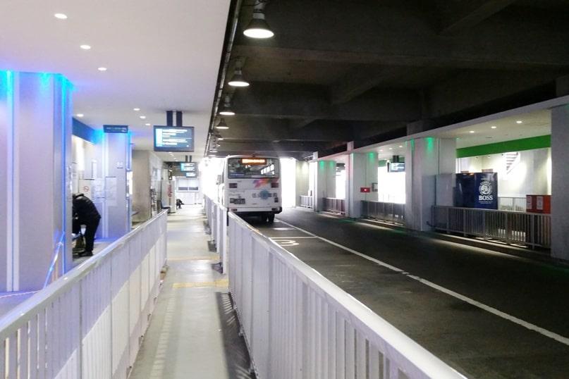 Matsumoto bus terminal departure platform. Backpacking japan travel blog