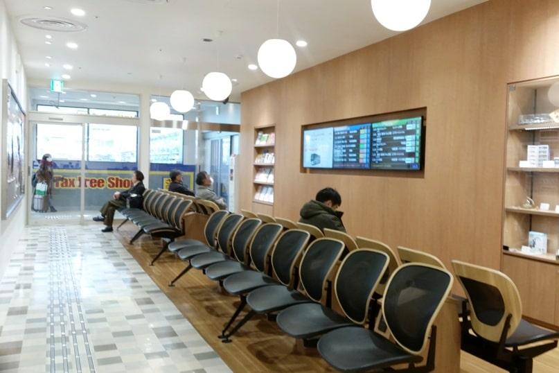 Matsumoto bus terminal waiting area. Backpacking japan travel blog