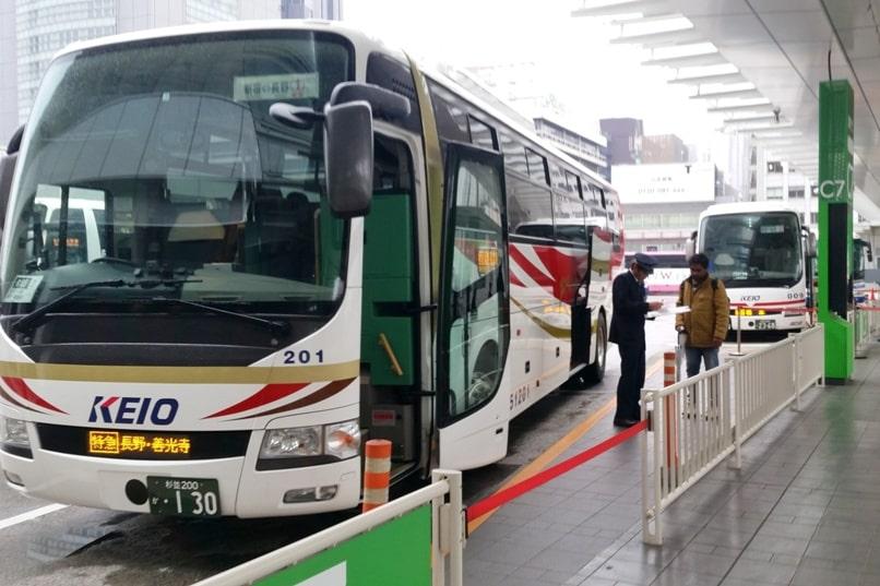 Tokyo to Nagano bus departure timing. Backpacking Japan travel blog