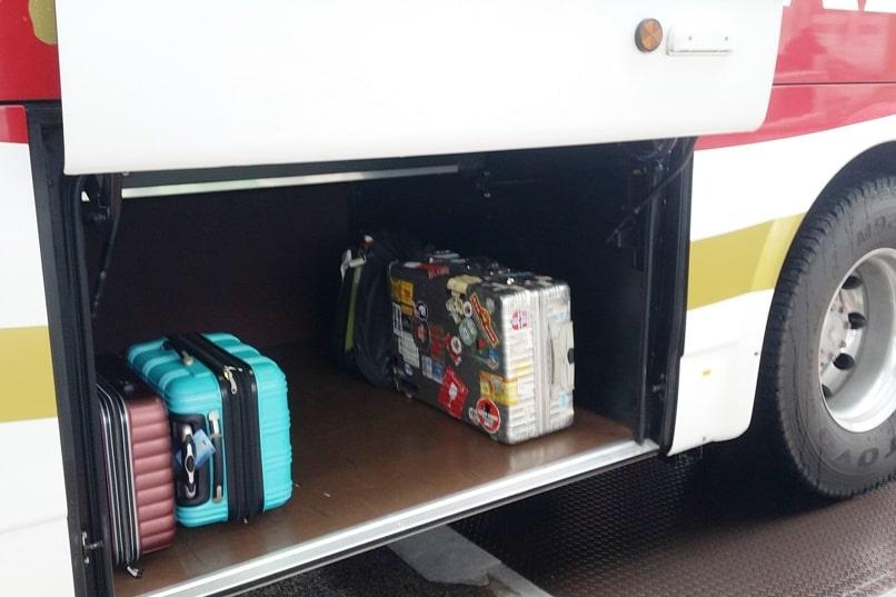 Tokyo to Nagano bus. suitcase luggage. Backpacking Japan travel blog