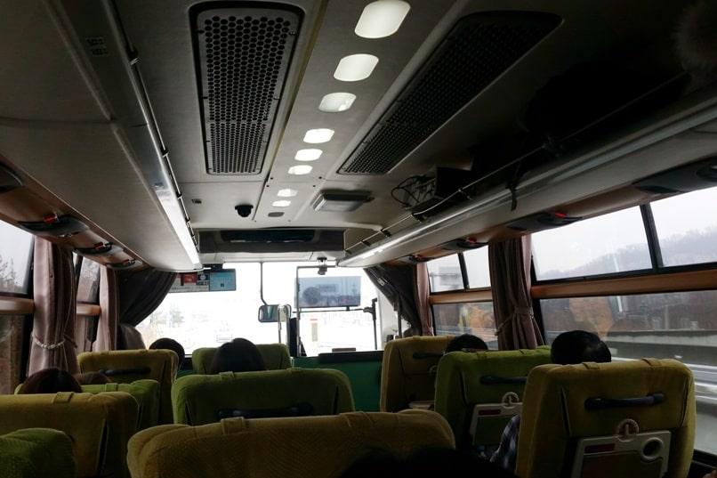 Tokyo to Nagano bus seats inside. Backpacking Japan travel blog