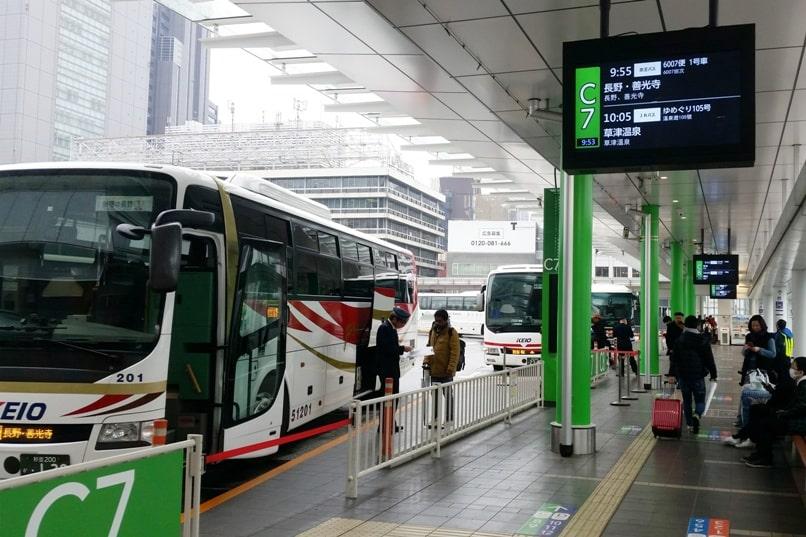 10 days in Japan winter itinerary. Getting around Japan in winter. Tokyo to Nagano bus. Backpacking Japan winter travel blog