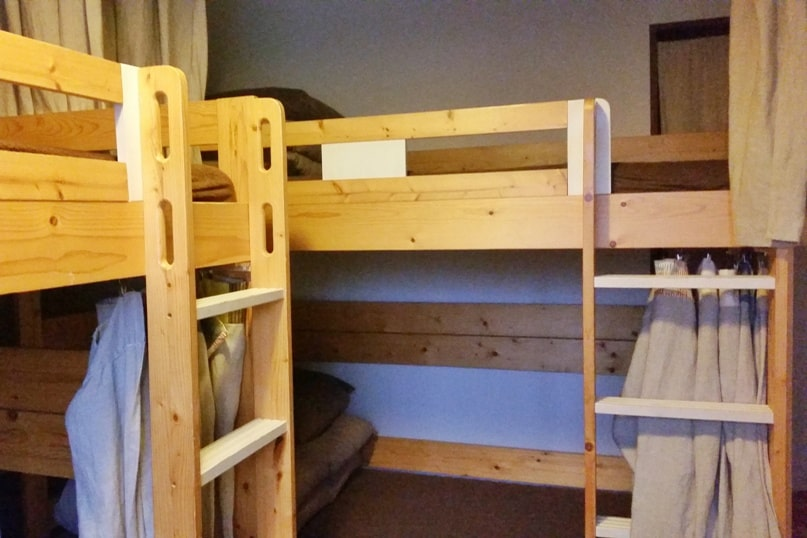1166 backpackers hostel in Nagano. dorm room bed. Backpacking Japan travel blog