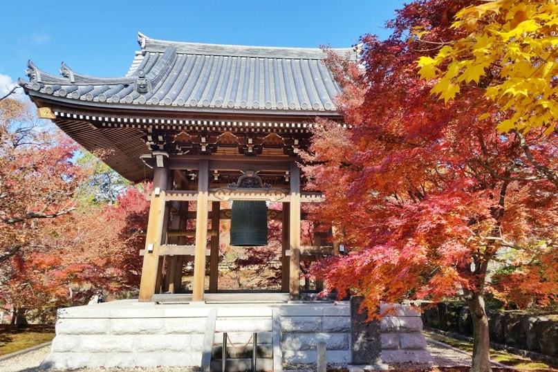 Chishaku-in Temple for autumn fall foliage colors in Kyoto. red orange yellow. Backpacking Japan travel blog