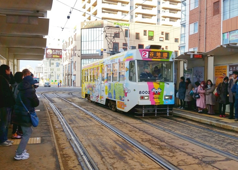Hokkaido Japan winter itinerary with 7-day JR Hokkaido pass. hakodate tram streetcar. Backpacking Japan winter travel blog